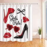 Afagahahs Fashion Woman Makeup Decor Vector High Heeled Shoes with Red Lips Shower Curtains Polyester Fabric Bathroom Decorations Shower Curtain Hooks Included Long