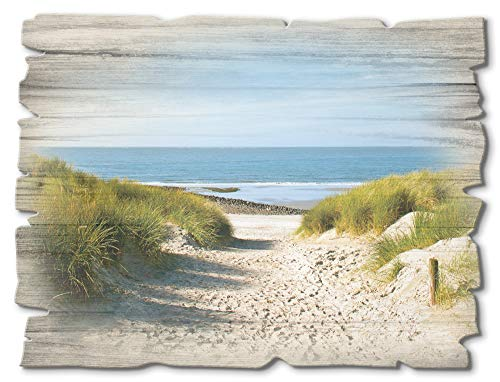 Artland Wandbild aus Holz Shabby Chic Holzbild rechteckig 40x30 cm Querformat Strand Nordsee Küste Meer Himmel Düne Gräser Maritim T9EX