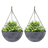 Large Hanging Planters for Outdoor Indoor Plants, Hanging Flower Pots with Drainage Holes(13.2', Rock Gray)