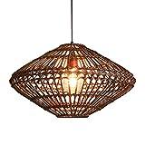 SHUANF Araña de bambú Tropical Luz de ratán de Mimbre Natural Pantallas de lámpara de ratán de Mimbre Hechas a Mano de Bricolaje Comedor Sala de Estar Dormitorio Bar Café Lámpara de Doble Capa E27