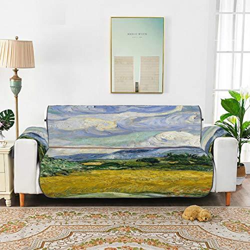 Zemivs Van Gogh Art Tree Wheat Field Chair Slipcovers con Cuscino per Le Braccia Cuscino per Divano T-Cushion Copridivano per Divano 45'(114 cm) Proteggi da Bambini Cani Animali Domestici