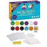 Smowo Mega Bügelperlen Set mit 10.000 Perlen - 15 Farben - inkl. Steckplatten und Zubehör - XXL...