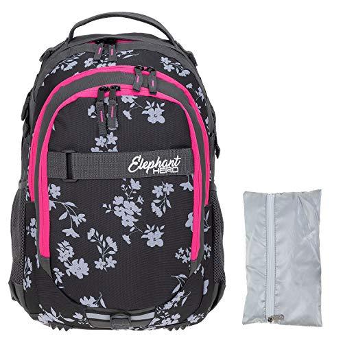 Elephant Schulrucksack Hero Signature Rucksack Schultasche Schulmappe Daypack Mädchen mit Regenhülle +r (Grey Flower (Grau/Pink Zip))