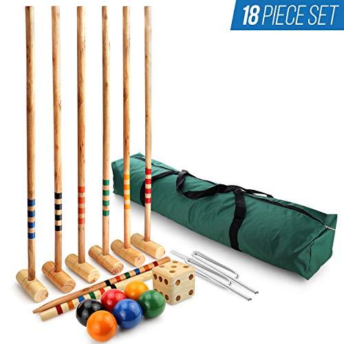 Chicago Merchandise Co Six Player Croquet Set for Adults & Kids - Portable Croquet Set for Backyard Games