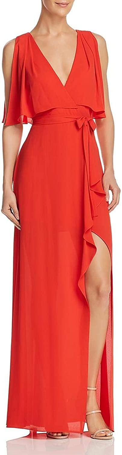 BCBG Max Azria Womens Fenella FauxWrap Sleeveless Evening Dress