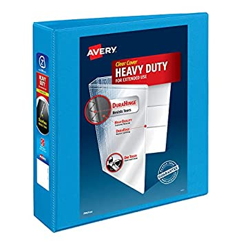 Avery Heavy-Duty View 3 Ring Binder 2  One Touch Slant Rings Holds 8.5  x 11  Paper 1 Light Blue Binder  05501