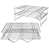 """TeamFar Cooling Rack, 4 Tiers Stainless Steel Wire Rack for Baking Roasting Broiling Cooking, Healthy & Durable, Dishwasher & Oven Safe, Stackable & Collapsible, Firmly Weld & Smooth Surface, 15""""x10"""""""