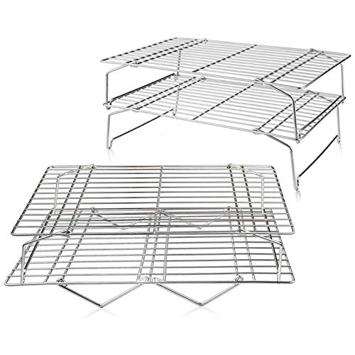 "TeamFar Cooling Rack, 4 Tiers Stainless Steel Wire Rack for Baking Roasting Broiling Cooking, Healthy & Durable, Dishwasher & Oven Safe, Stackable & Collapsible, Firmly Weld & Smooth Surface, 15""x10"""