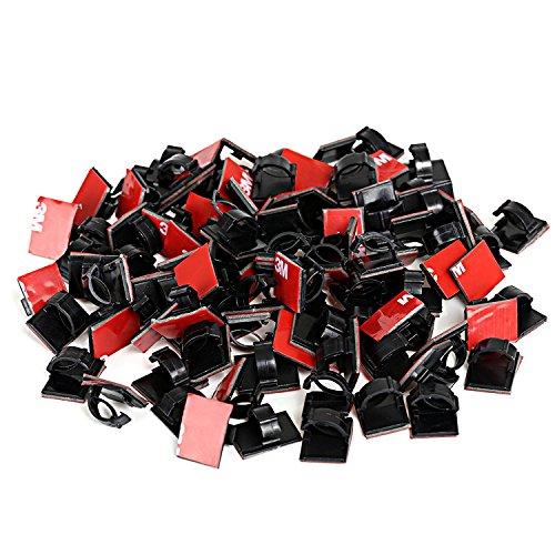 GWHOLE 100 Pezzi Autoadesivo Clip Cavo Cavo Gestione Fascette Fermacavo Clip Adesivo per L'ufficio e Casa