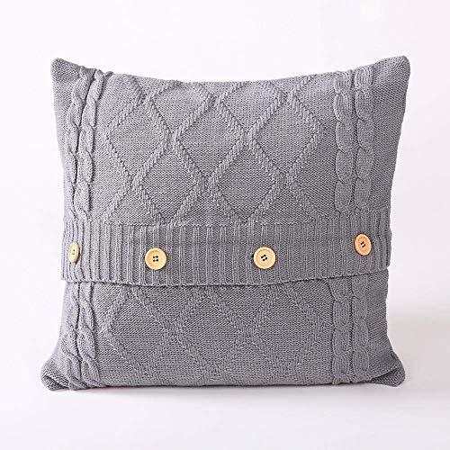 ZWWZ Knitted pillow, square button, cushion, sofa wool pillow HAIKE