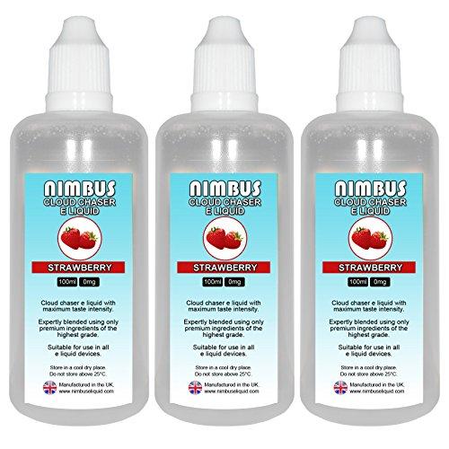 Triple Pack - 3x 100ml Strawberry E Liquid 80/20 Cloud Chaser Vape Juice...