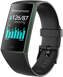 Smart Sports Bracelet Real-time Blood Pressure Heart Rate Monitoring Smart Watch Remote Control Camera IP67 Waterproof Information Reminder Multi-Function Electronic Watch (Color : Black)
