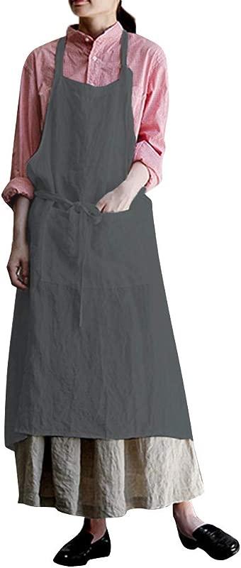 Alangbudu Women S Halter Soft Cotton Linen Apron Dress Pockets Kitchen Cooking Clothes