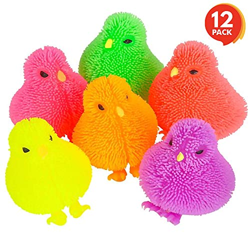 ArtCreativity 3 Inch Chicken Puffers Pack of 12 Chick Surprise Toys for Filling Easter Eggs Easter Party Favors Egg Hunt Supplies Stress Relief Toys for Kids Assorted Neon Colors