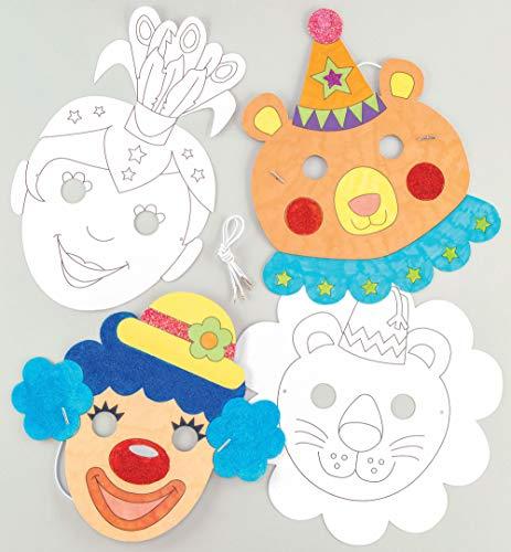 """Baker Ross Masken """"Zirkus"""" zum Ausmalen (8 Stück) – Masken mit verschiedenen Zirkusmotiven für Kinder zum Gestalten und Verkleiden"""