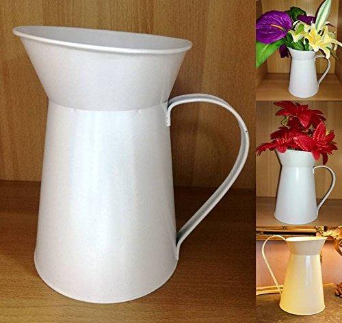 TriEcoWorld Krug im französischen Stil Shabby Chic Vintage Blumen Home Dekoration Metall Eisen Stahl Dose Hochzeit Vase Geschenk Weiß