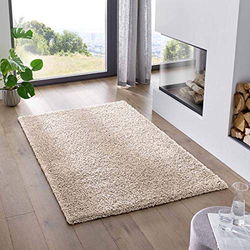 Teppich Wölkchen Shaggy-Teppich | Flauschiger Hochflor für Wohnzimmer, Kinderzimmer oder Flur Läufer | Einfarbig, Schadstoffgeprüft, Allergikergeeignet I Creme - 200 x 290 cm