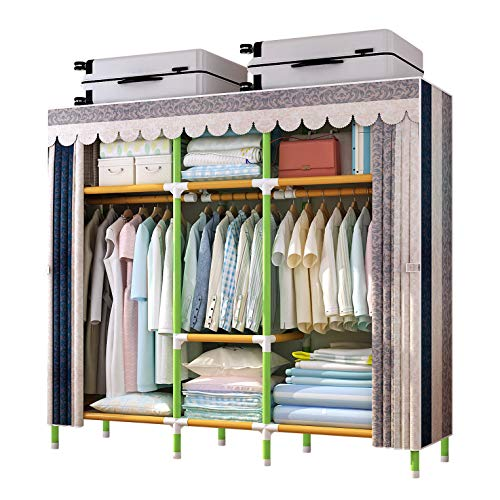 YOUUD 68 Inches Wardrobe Storage Closet Portable Closet Shelves, Closet Stroage Organizer with Non-Woven Fabric, Quick and Easy to Assemble, Extra Strong and Durable