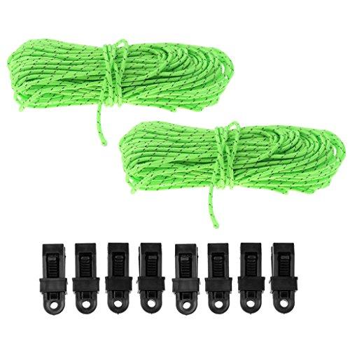 Nobranded 2 X Línea de Tipo Cuerda de Tienda de Campaña Reflectante Fluorescente con Clips de Toldo de Lona