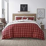Eddie Bauer Home   Corbett Collection   100% Cotton Soft & Cozy Premium Quality Plaid Comforter with Matching Sham, 2-Piece Bedding Set, Twin, Red