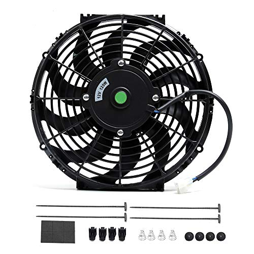 Engine Radiator Cooling Fan 12 Inch Curved Blade Ultra Thin Universal High Performance 12V 120W 4 Angle Of Motor 3000 CFM,Radiator Fan With Fan Mounting Kit(Puller and Pusher Design) USD$4375USD$43.75