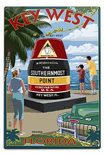 Lantern Press Key West, Florida - Southernmost Point 33341 (6x9 Aluminum Wall Sign, Wall Decor Ready to Hang)