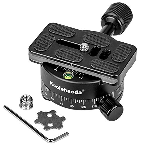 Koolehaoda Testa panoramica a 360°, testa per treppiede con piastra a sgancio rapido da 70 mm, compatibile con testa a sfera RRS ARCA, adatta per fotocamera reflex con treppiede monopiede slider