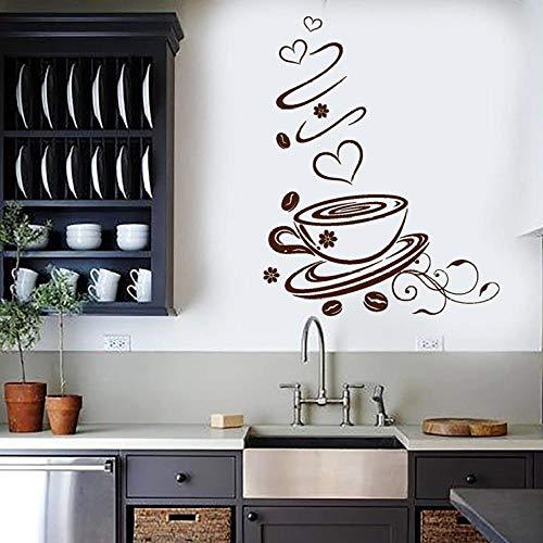 Muurstickers Decal Koffiebonen Muursticker Liefde Hart Aroma Koffie Shop Cup Vinyl Window Stickers Keuken Cafe Restaurant Interieur Art Decor