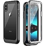 Temdan iPhone X Hülle, iPhone XS Hülle, Transparent Stoßfest 360 R&umschutz Bumper Hülle mit Eingebautem Bildschirmschutz Robust Handyhülle Schutzhülle für iPhone X/XS 5,8 Zoll (Schwarz/Grau+ Klar)