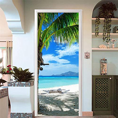 BXZGDJY 3D-deursticker, zelfklevend, voor op het strand, voor op kantoor, bar, deur, plakfolie, bloem, woonkamer, slaapkamer, kinderen, restaurant, kantoor, bar, deur, kunst decoratie 90x210cm