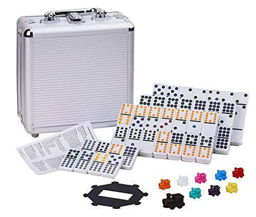 Dominoes Set Double 12 Mexican Train Dominoes 91 Tiles Dominoes Set with Travel Aluminum Case Gift for Kids and Families (Style 2)