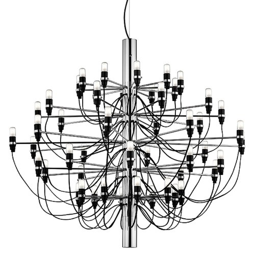 Flos Hängeleuchte 2097 L - Chrom Gino Sarfatti 1958, Stahl, Messing, Eisen, Wohnzimmerleuchte - Tischleuchte - Pendelleuchte - Deckenleuchte