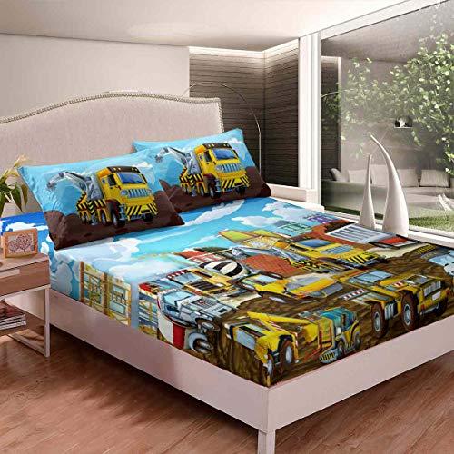 Homemissing Juego de sábanas para niños y niñas, niños, dibujos animados, juego de ropa de cama decorativo para camiones de construcción, funda de cama para cama de edificio, color King Size