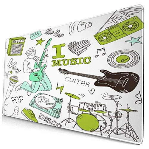 Linda Alfombrilla de ratón,Música y garabatos Me Encanta la música,Alfombrilla Rectangular de Goma Antideslizante para computadora de Escritorio,Alfombrilla de Escritorio para Jugadores,15.8'x29.5