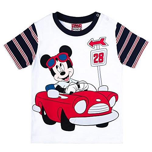 Disney Jungen Mickey Mouse T-Shirt, weiß, Größe 80, 12 Monate