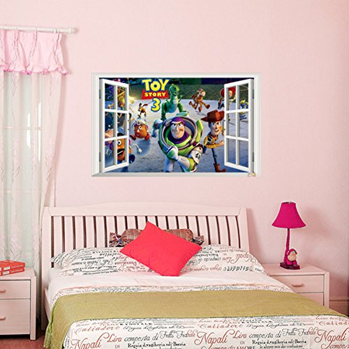 Best Selling Toy Story 3 Cartoon 3D Window Scenery Toy Story 3 Wall Decals Sticker Home Nursery Kids Rooms Decor ZYPA1403 by Shop And Style