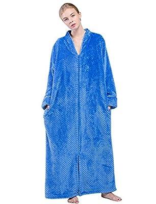 Womens Lounge Fluffy Fleece Bathrobes Sleepwear Long Robes with Zipper Front