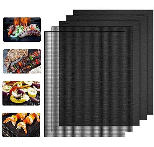 Nasharia BBQ Grillmatte und Grillen Mesh Matte 5er Set, 3er BBQ Grillmatte Backmatte und 2er Grillen Mesh Matte Perfekt für Fleisch, Fisch und Gemüse, 100% Antihaft, Wiederverwendbar, 40x33 cm
