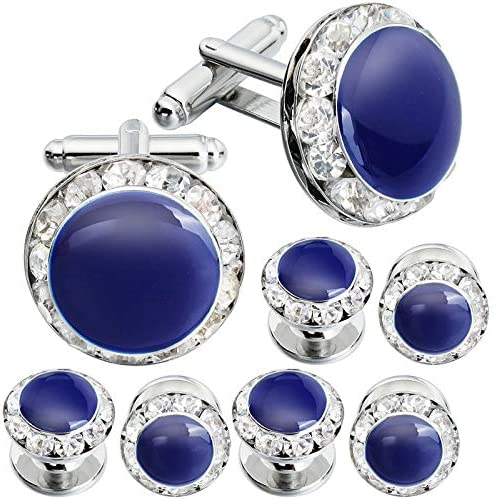 weichuang Enamel&Crystal Cufflinks and Studs for Men Fashion Tuxedo Shirt Jewelry Cuff Button Men's Wedding Gift 4 Colors Available (Metal Color : 400541)