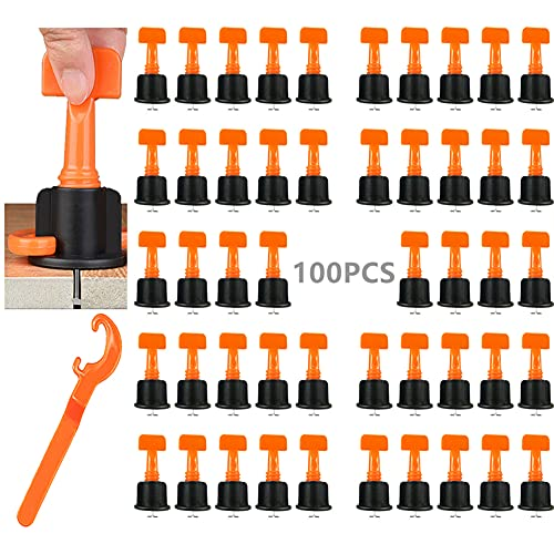 DQTYE 100-teilige Fliesen-Nivelliersystem-Kits Fliesen-Nivellierer mit Spezialschlüssel zum Bauen von Wandböden Wiederverwendbare DIY-Bauwerkzeuge