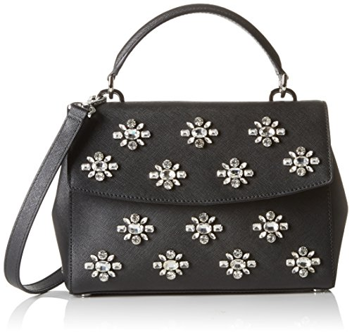 Saffiano leather (W x H x D): 24 x 18 x 10 cm Flap with magnetic closure / short handle (about 26 cm) detachable and adjustable shoulder strap (about 87-99 cm Shimmering Crystal Embellishments Snap-buttons on the sides for expansion and style
