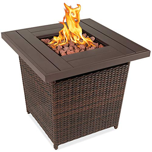 Best Choice Products 28in Fire Pit Table 50,000 BTU Outdoor Wicker Patio Propane Gas w/Faux Wood Tabletop, Lava Rocks, Cover, Hideaway Tank Holder, Lid – Brown