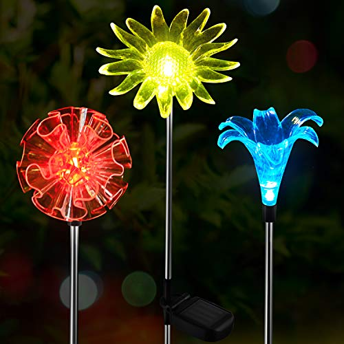 OxyLED Solar Garden Lights Outdoor, 3 Pack LED Solar Stake Light, Multi-Color Changing Solar Powered Decorative Landscape Lighting Dandelion Lily Sunflower for Path, Yard, Lawn, Halloween, Christmas