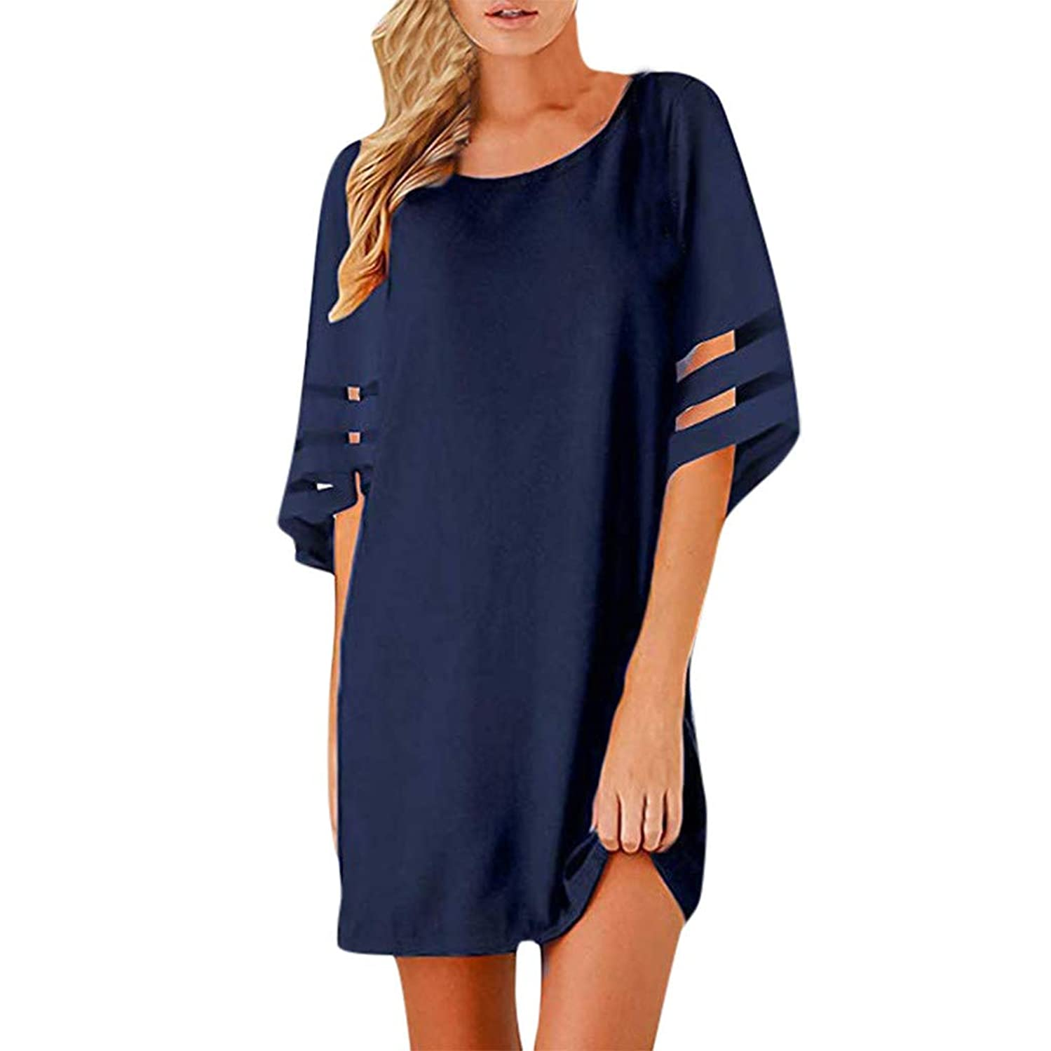 Cocktail Dresses for Women 3/4 Bell Sleeve Mesh T Shirt Dress Lace Patchwork Blouse Casual Loose Mini Dress