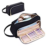 Large Capacity Pencil Case Trapezoid Large Storage Pencil Pouch for School Student, 2 Zipper Compartments Cute Pencil Bag with Portable Belt