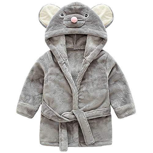 YFPICO Weiche Flanell Babybademantel Kinder Baby Handtuch Kapuze Unisex Frottee Bademantel Kleinkind für Erwachsene Geschenk, Graue Maus, 80/86(Etikettengröße:90)
