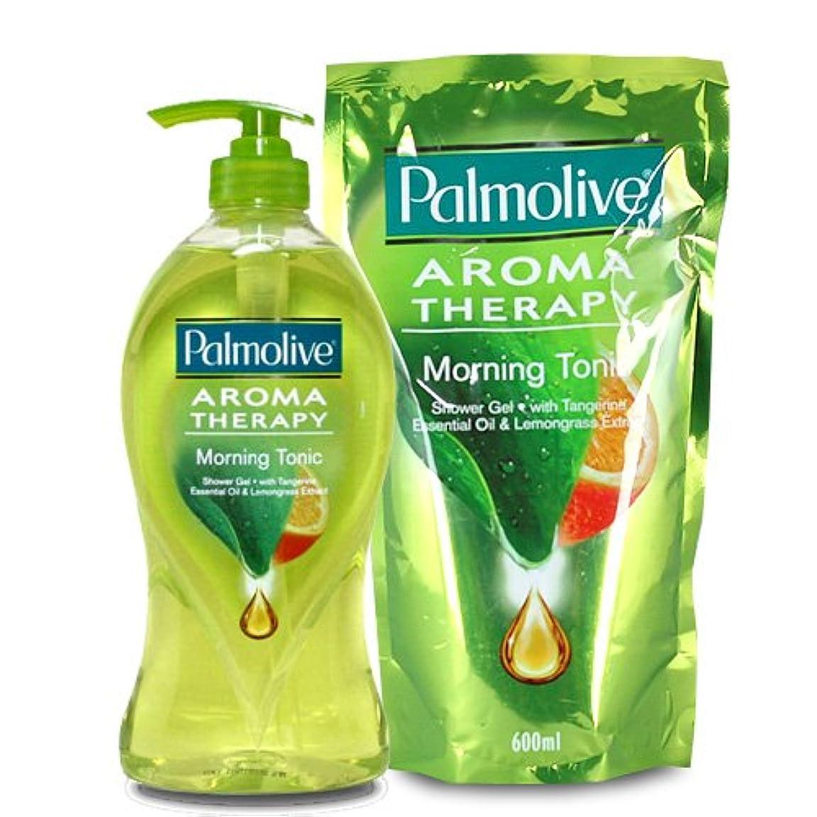 優れました雄弁な差別【Palmolive】パルモリーブ アロマセラピーシャワージェル ボトルと詰め替えのセット (モーニングトニック)