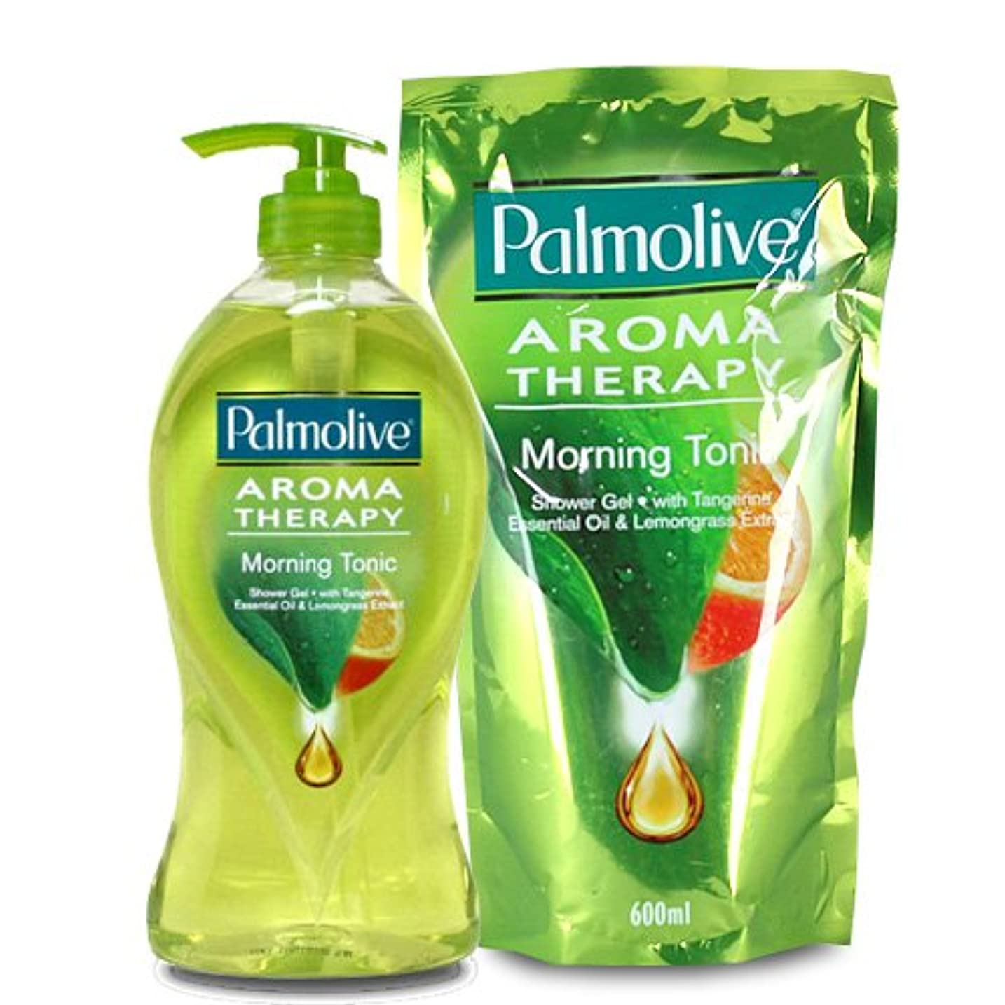 蛇行ラショナル頬【Palmolive】パルモリーブ アロマセラピーシャワージェル ボトルと詰め替えのセット (モーニングトニック)
