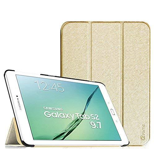 Fintie, hoes voor Samsung Galaxy Tab S2 9.7 T810N, T815N, T813N, T819N, afmeting 24,6 cm (9,7 inch), tablet-PC, ultraslank, standaard, cover, beschermhoes, met automatische slaap-waakfunctie, Tab S2 9.7 SmartShell goud