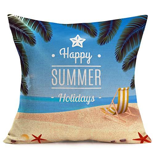 Fukeen inspirierende Zitate Baumwolle Leinen Dekorative Kissenbezug Street View Hintergrund Überwurf Kissen Home Sofa Decor quadratisch 45,7 x 45,7 cm Kissenbezug 18'x18' Beach Chair Sand